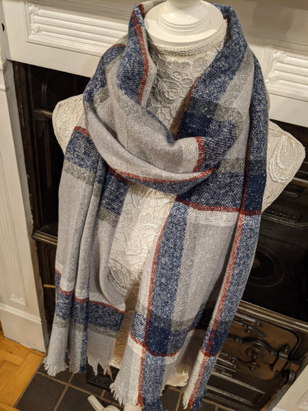Grey navy & red checked blanket scarf
