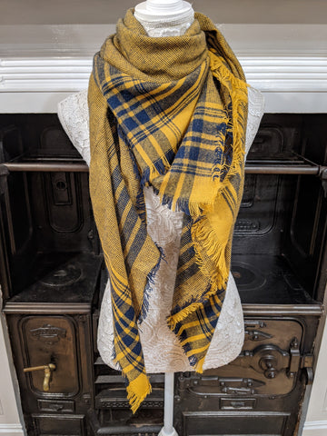 Navy & mustard checked scarf