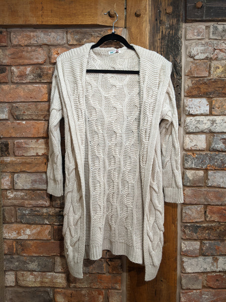 Cream cable knit long cardigan
