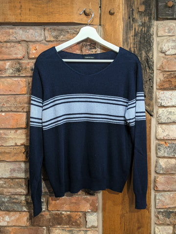 Navy blue contrast stripe ladies cashmere jumper
