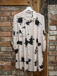 Soft pink ladies shirt with black abstract print