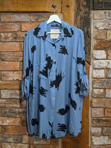 Denim blue abstract print shirt