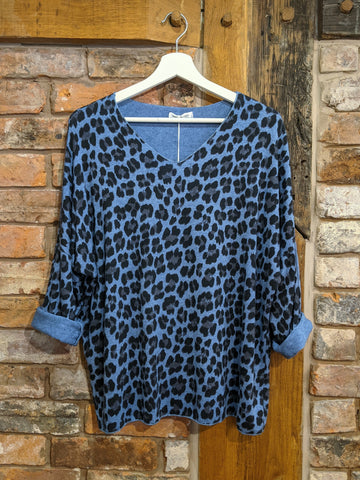 Women's denim blue animal print jumper