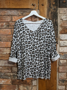 White animal print jumper Nantwich Cheshire