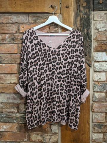 Women's soft pink animal print sweater