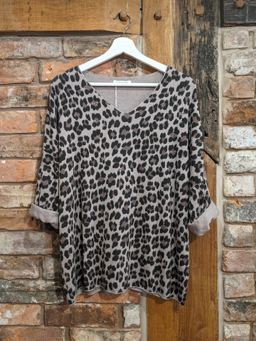Ladies taupe animal print sweater