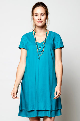 Nomads double layer tunic dress in lagoon