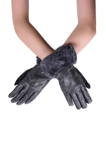 Grey faux fur gloves