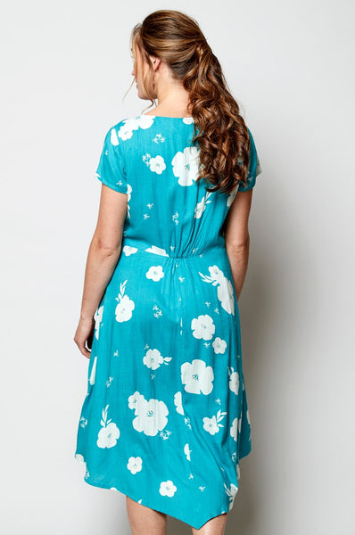 Ladies teal blue floral dress