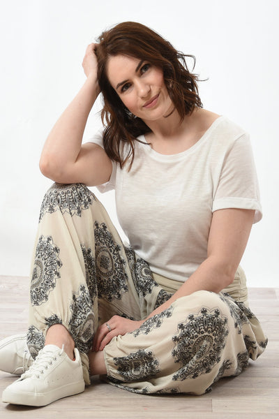 Cream Mandala Harem Trousers