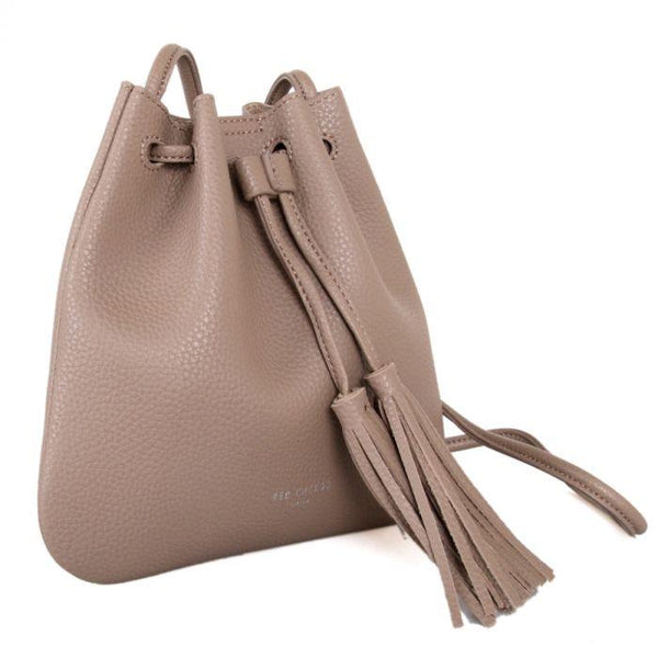Taupe vegan leather cross body bag