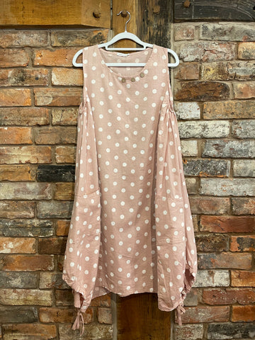 pink polka dot linen mix dress