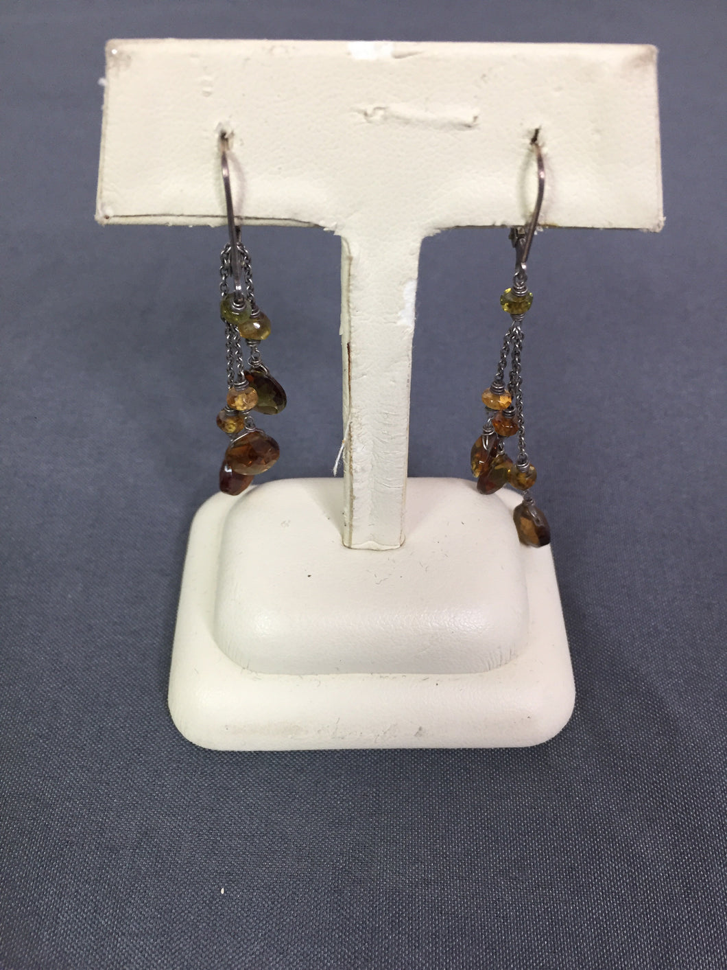 Brown & silver dangle earrings