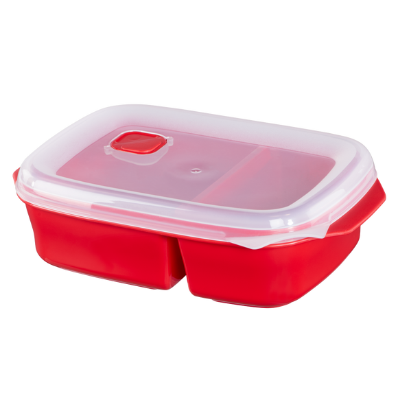 XAVAX 111465 Microwaveable container with 2 food compartments, 1.3 l, red