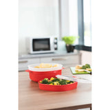 XAVAX 111485 Microwave Steam Cooker, PP, 4 Litres, red