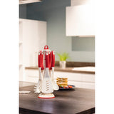 XAVAX 111577 Nylon Kitchen Tool Set, incl. rotating rack, 6 pcs., red/white