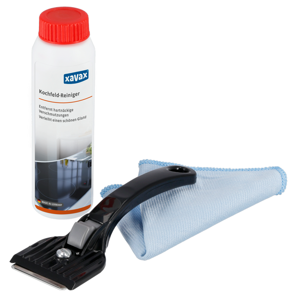 XAVAX 111752 Hob Cleaning Kit, 3-Part, Cleaner, Scraper, Microfibre Cloth