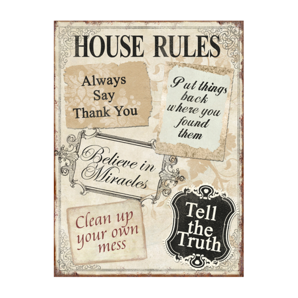XAVAX 136314 HOUSE RULES DECROTION 26X35CM
