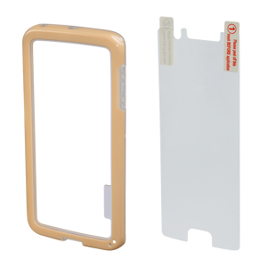 "HAMA 136741 ""Edge Protector"" Cover for Samsung Galaxy S6 Edge + Screen Protector, gold"