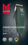 MOSER 1400-0392 HAIR CLIPPER GREEN UK-PLUG