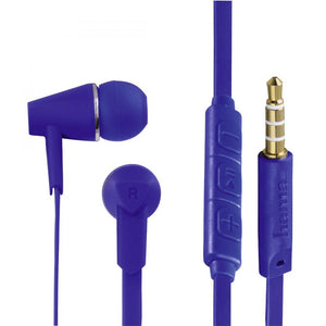 "HAMA 184009 ""JOY"" HEADPHONES,IN-EAR, MIC,FLAT RIBBON CABLE, BLUE"