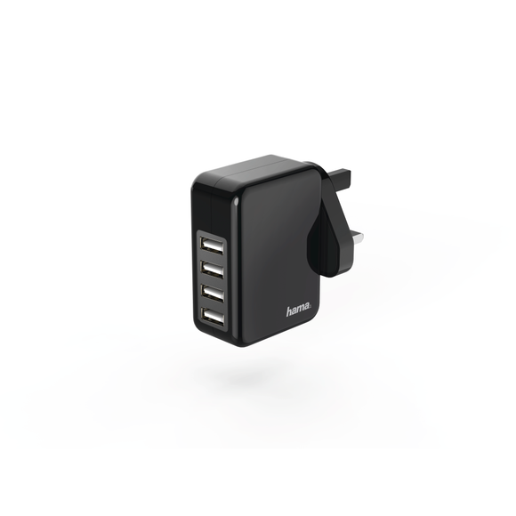 HAMA 73183276 CHARGER, 4 USB, 4.8 A, WITH UK PLUG, BLACK