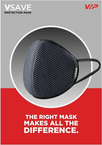 V-SAVE VIP Face Mask Single Piece In Medium & Large Size - Black