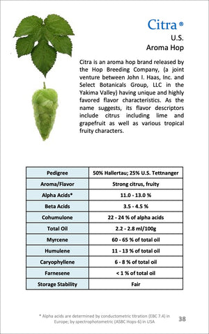 Citra Hop Breeding Info Chart