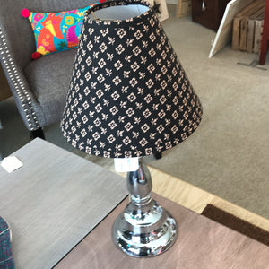 "NEW 19"" Chrome Table Lamp w/ Black/Taupe Floral Shade"