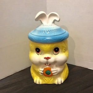 Vintage Yellow/Blue Rabbit Cookie Jar