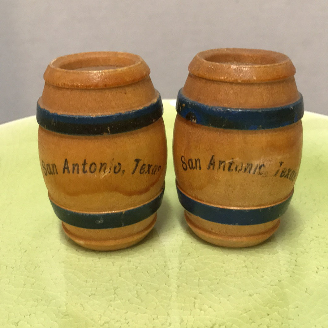 Vintage Wood Barrel Salt & Pepper - San Antonio