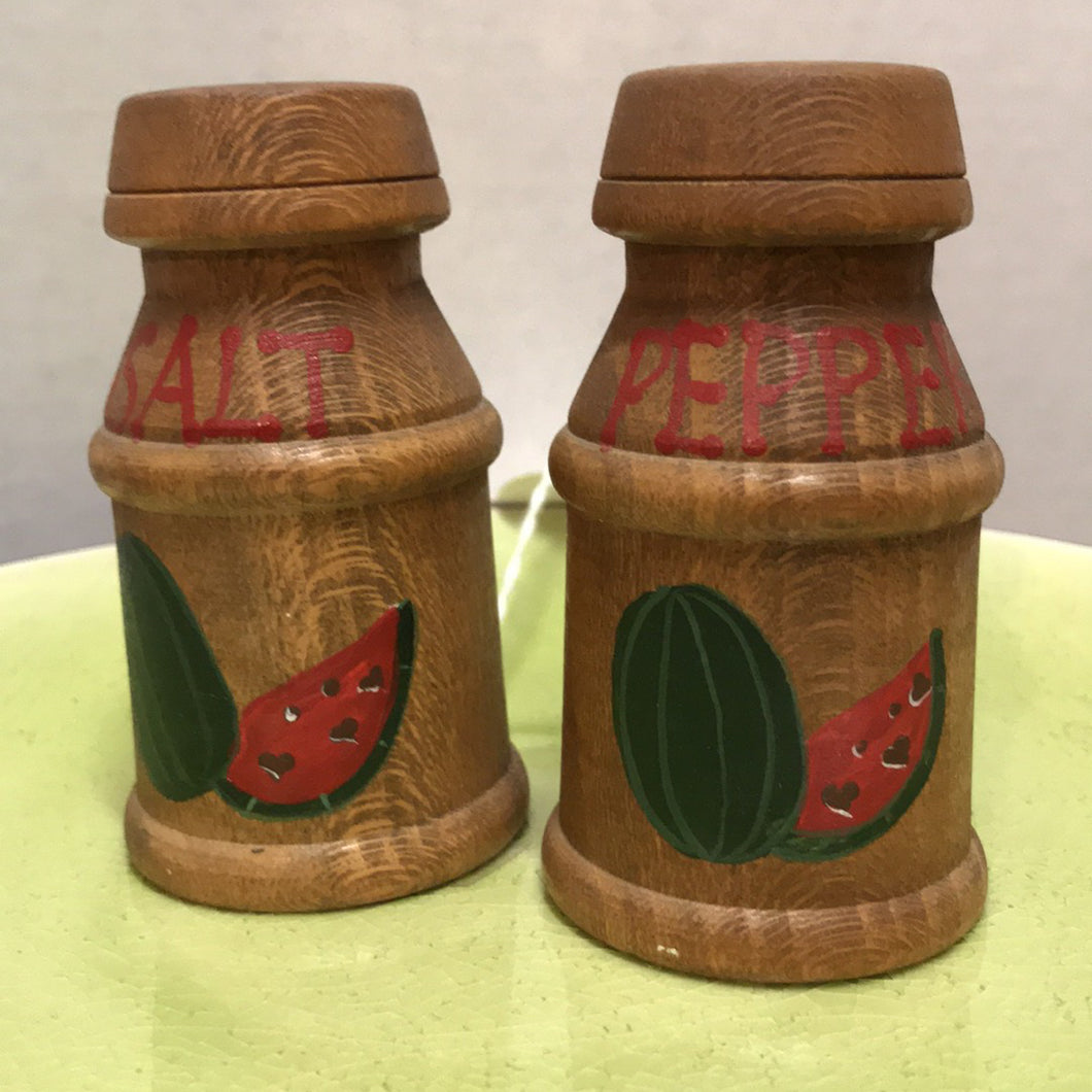 Vintage Wood Milk Can Salt & Pepper