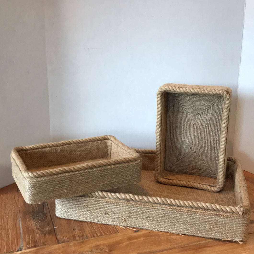 NEW Set of 3 Nesting Jute Trays - 13433 - Made in India