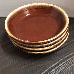 "Set of Four 7"" Brown Drip Glazed Dishes"