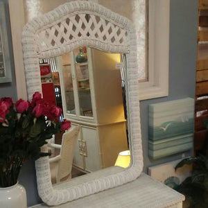 "NEW 27""x43"" Sandy Beach Arched White Wicker Mirror"