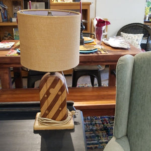Striped Wood Table Lamp with Burlap Shade