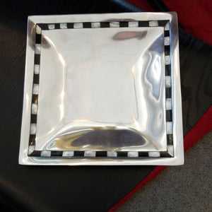 "NEW 10"" Aluminum Square Tray w/Mother of Pearl - 11546 - Made in India"