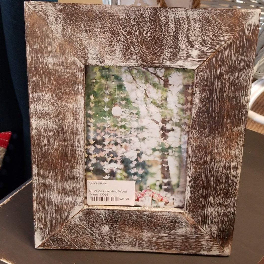 NEW Whitewashed Wood Frame 13096