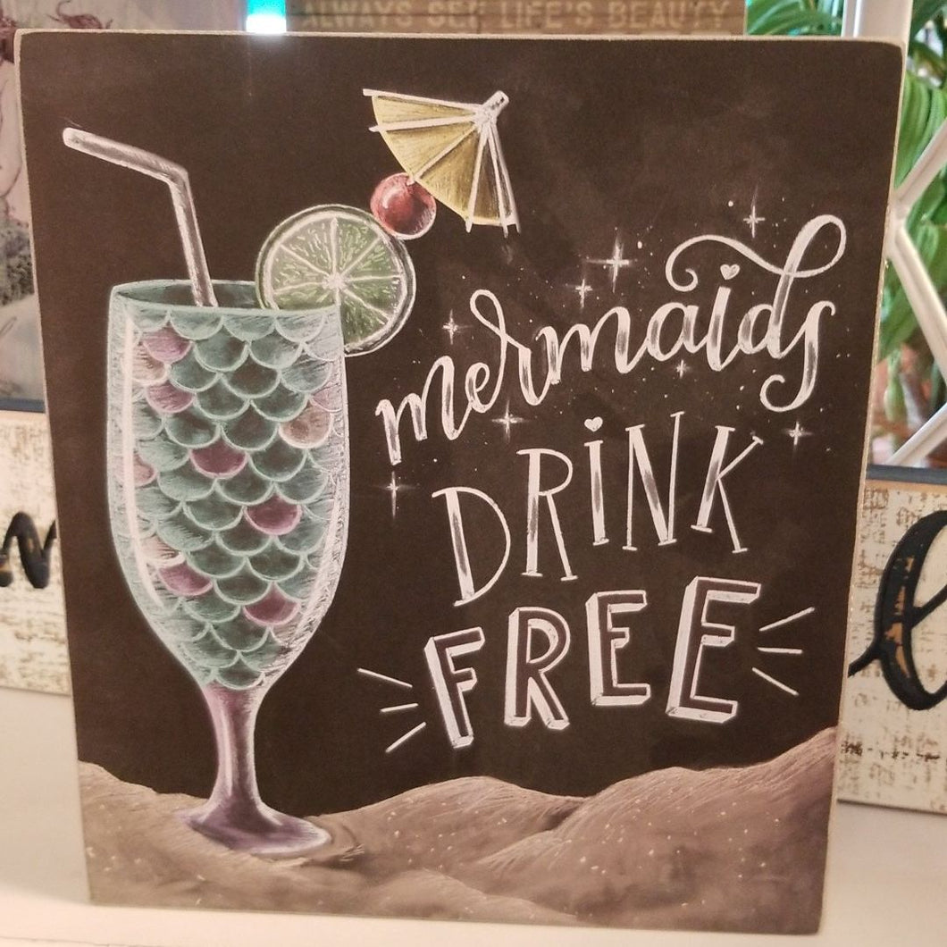 NEW Box Sign - Mermaids Drink - 38418