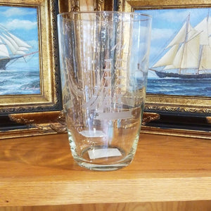 "9.5"" Javit Crystal Etched Crystal Sailboat Vase"