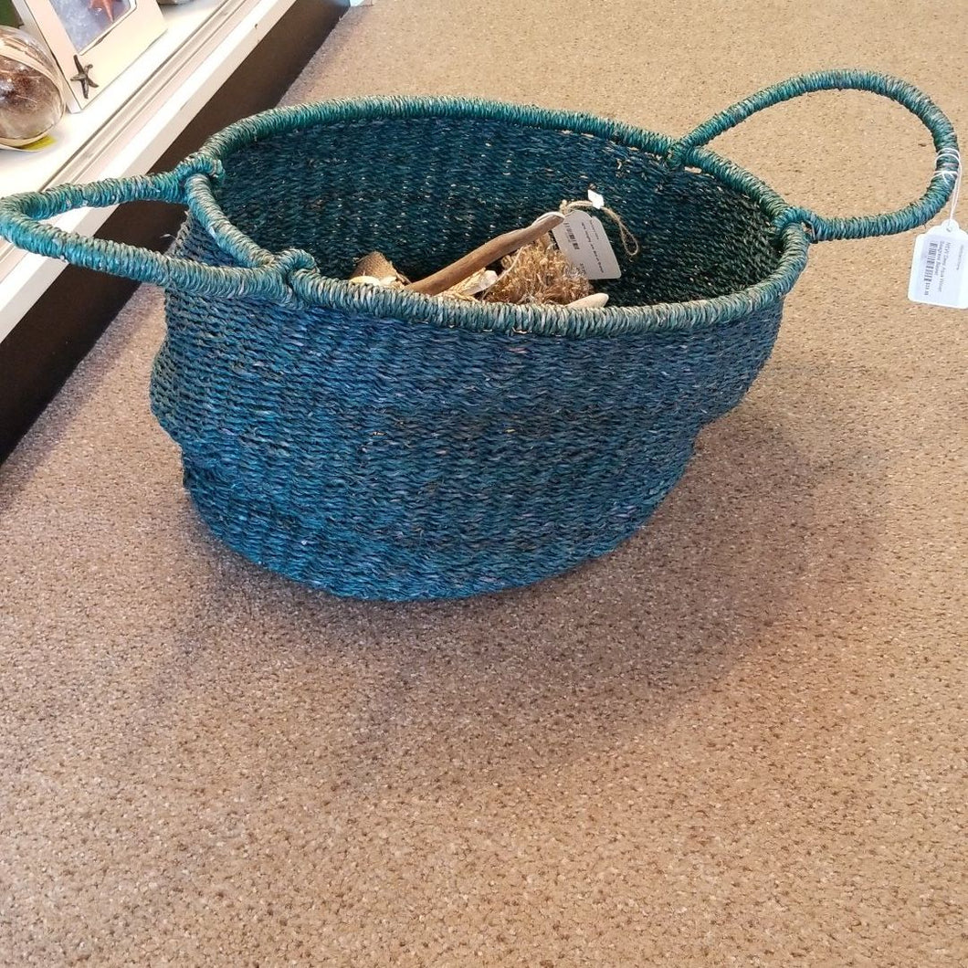 NEW Deep Aqua Woven Seagrass Basket
