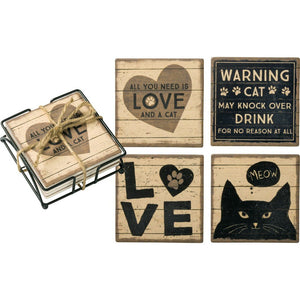 NEW Coaster Set - All You Need Is Love And A Cat - 39364