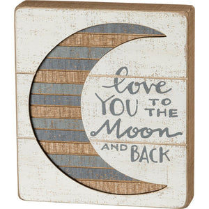 NEW Slat Box Sign - Moon And Back - 38228