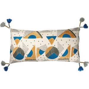 NEW 28x14 Blue & Gold Geometric Pillow 102475