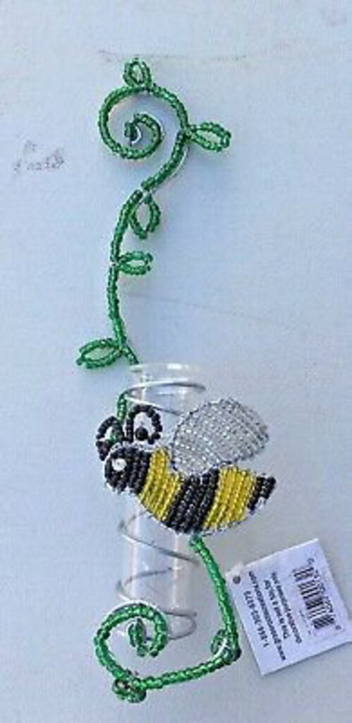 NEW Beadworx by Grass Roots Bumblebee Bud Vase