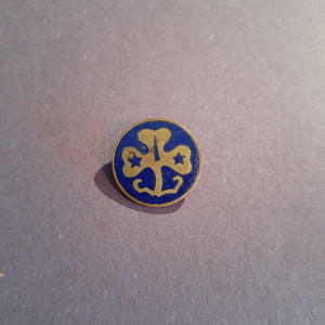 VINTAGE Girl Scouts Blue Clover Lapel Pin