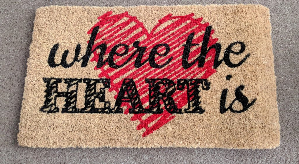 NEW Coir Door Mat, 18x30 Where the Heart Is