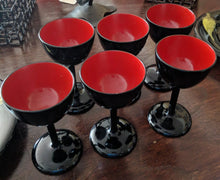 Load image into Gallery viewer, Vintage 4 PC Set: Bembo Okinawa Black and Red Lacquer Cups