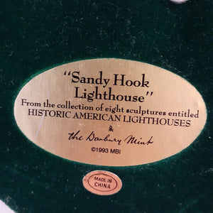 "Danbury Mint Historic American Lighthouse Collection: ""Sandy Hook Lighthouse"" WITH BOX"