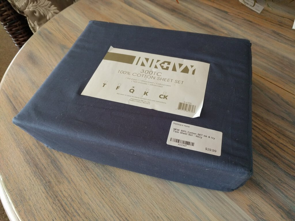 NEW 100% Cotton SET Ink & Ivy Twin Sheet Set - Navy